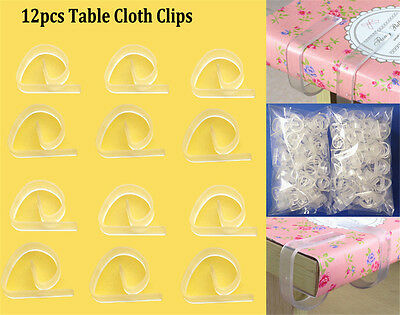 12pcs Clear 4 Table Cloth Clips Cover Secure Party Durable Holder Clamps New SP