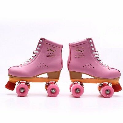 Adults Outdoor Indoor Lace Up Roller Skates Boots Pink Double Line Skating Quad