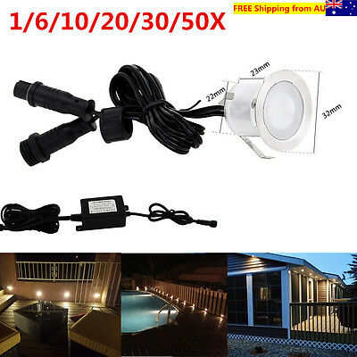 10/20/30/50X Warm White 12V 30mm Outdoor Yard Walkway LED Deck Step Stair Lights