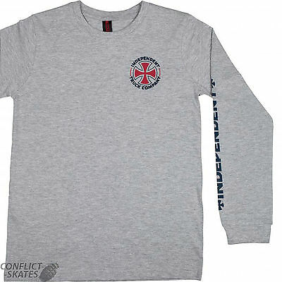 """INDEPENDENT """"ITC Cross"""" Youth Skateboard Long Sleeve T-Shirt GREY S M L XL Kids"""