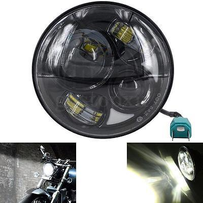 "7"" Motorcycle Bike Black Projector Daymaker Round LED Headlight Bulb Head Lamp"
