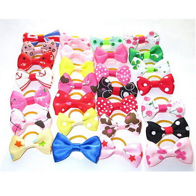 Cute Lot Small Pet Dog Hair Bows Cat Puppy Grooming Accessories w/Rubber bands タ