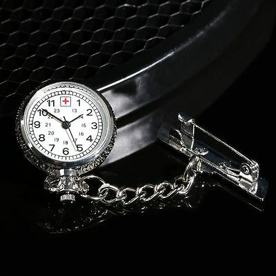 Hanging Chain Nurse Pocket Watch Brooch White Dial Silver Steel