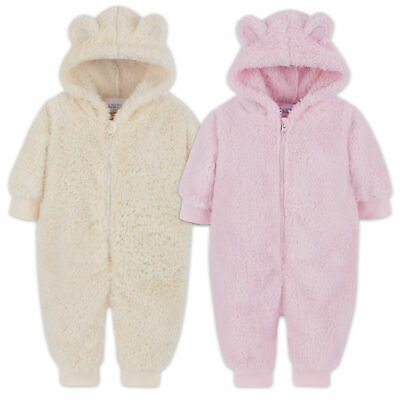 Babytown Unisex Newborn Infant Hooded Snuggle Fleece Onesie Sizes 0-12 Months