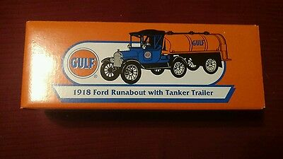 ERTL GULF 1918 Ford Runabout with Tanker Trailer NIB Free Shipping