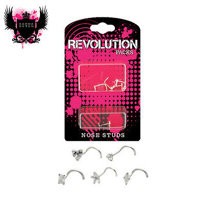 Sterling Silver Nose Stud Value Pack - Mixed Designs - Crystal Clear Colour