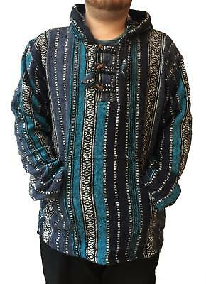 New Baja Jerga Pull Over Hoody Jacket 100% Heavy Cotton Tribal Hippy Unisex NWT