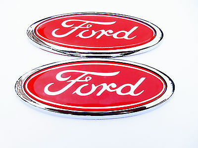 Red Ford Oval Badge Mondeo / Fiesta / Focus ETC .Brand New X2