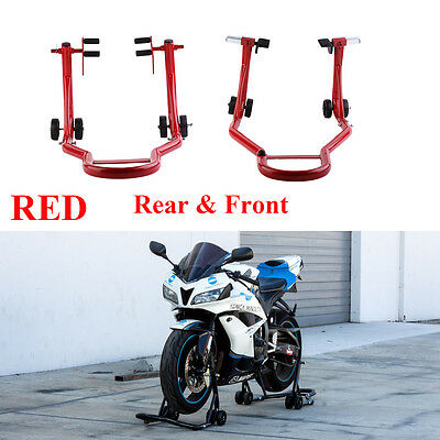Red Motorcycle Stand Front & Rear Swingarm Spool Wheel Lift Universal Set Bike