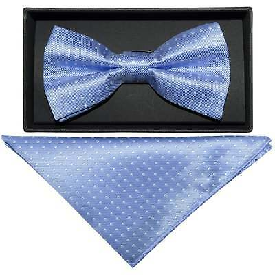Handmade Light Blue And White Polka Dot Mens Bow Tie and Handkerchief Set
