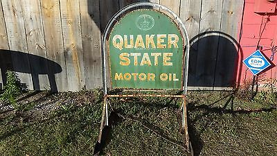 Genuine 1970 Vintage Quaker State Motor Oil Tombstone Sign & Curb Stand