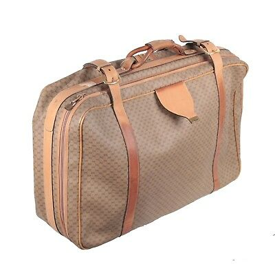 eec546bc291 Authentic GUCCI VINTAGE Tan GG MONOGRAM Canvas SUITCASE Travel Bag LUGGAGE