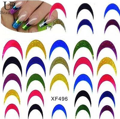 New Styles 3D Holographic Glitter Nail Art French Manicure Transfer Stickers UK