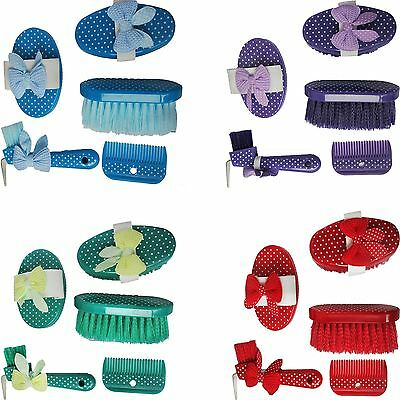 WaldHausen Horse Pony Riding Cleaning 5 Piece Dotty Grooming Aid Kit All Colours