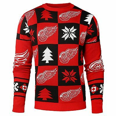 Adult M Detroit Red Wings Patches Ugly Crew Neck Sweater EB114