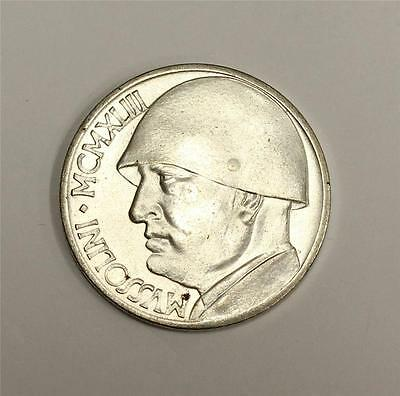 1943 Italy WWII Mussolini 20 Lire non-official issue Silver plated Uncirculated