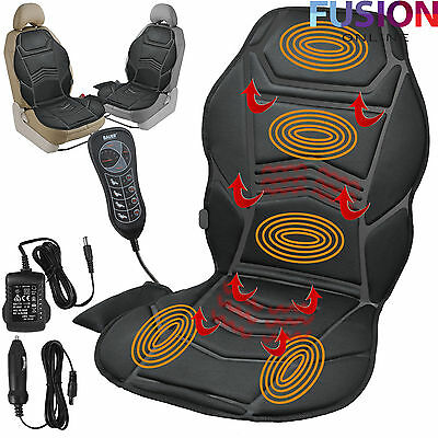 Heated Back Seat Remote Control Massage Chair Car Home Van Relax Cushion