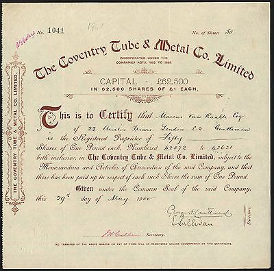 CYCLES: Coventry Tube & Metal Co. Ltd., £1 shares, 1900