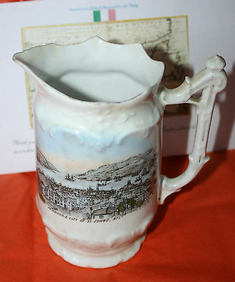 Newfoundland St. John's Harbour Pre Great Fire 1892  Transferware Pitcher - Rare