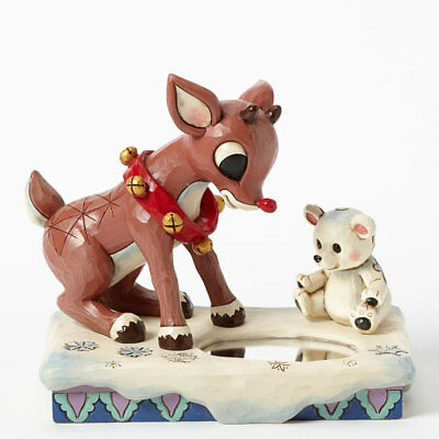 Rudolph the Red-Nosed Reindeer Looking at Reflection Jim Shore NIB Christmas