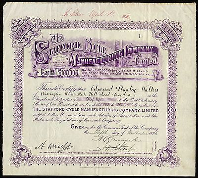 Stafford Cycle Manufacturing Co. Ltd., £1 ordinary shares, 1897