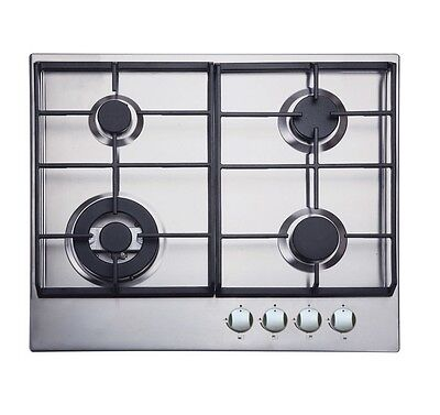 Iberna BGHU610SS | 4 Burner Gas Hob in Stainless Steel & Cast-Iron Pan Supports