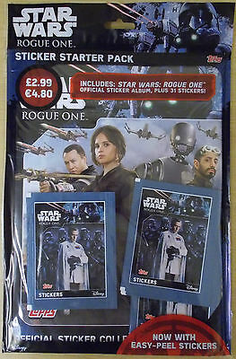 Star Wars Rogue One ~ Topps Sticker Collection Starter Album Pack & 31 Stickers