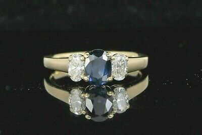$3,500 14K Solid Yellow Gold Blue Oval Sapphire White Diamond Engagement Ring 7