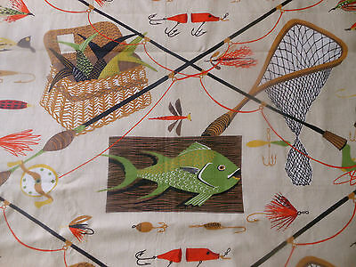 Vintage Mid Century Fish Fishing Fabric ~  Green Yellow Orange Chartreuse Brown