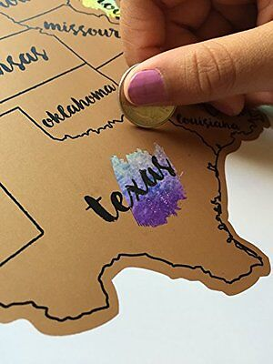 United States of America USA US Watercolor Art Scratch Off Map 12x18in Frameable