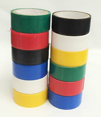 12pc - Colored Electrical Red white yellow black blue Green Tape