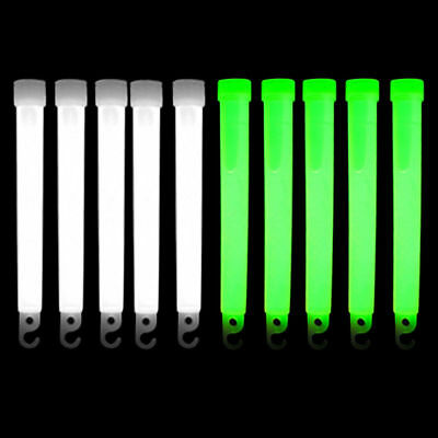 """Scuba Diving Safety 6"""" Glow Sticks 10pc Pack (White/Green)"""