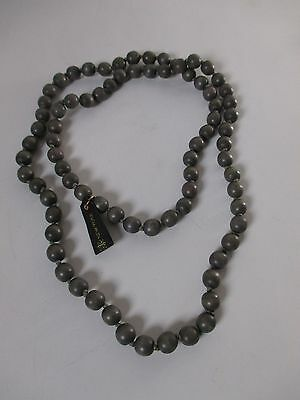 Gerard Yosca Wood Knotted Bead Necklace NIP $85 BROWN