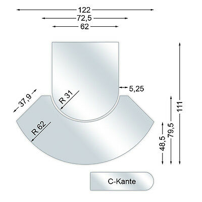 Spark guard plate, Glass bottom plate 2 piece with C-Edge, 6 mm high, Model I