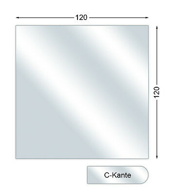 Spark guard plate, Glass Floor Plate With C-Edge, Square, 6 mm high, 120 x 120