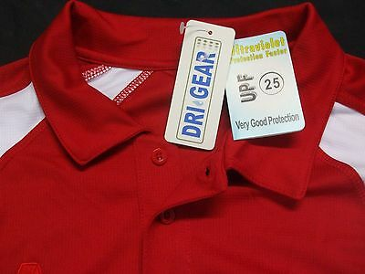 Lawn Bowls Polo Top, Short Sleeve, Red With White Trim, Size LARGE