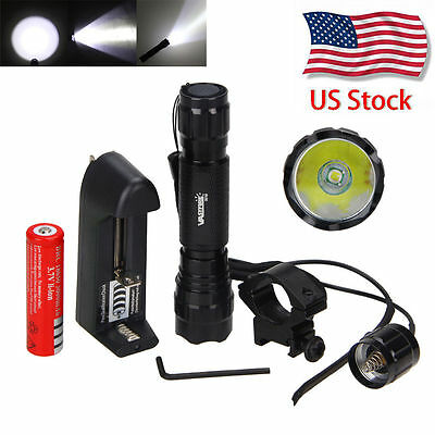 5000lm T6 LED Tactical Flashlight Torch 18650 Hunt Weaver Picatinny Mount Rifle
