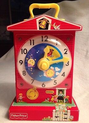 Fisher-Price Music Box Teaching Clock 2005 Reproduction Of '62/'68 Model VGUC