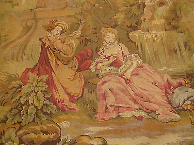 Nice Antique  French wall tapestry country figures & nature scene 77x48
