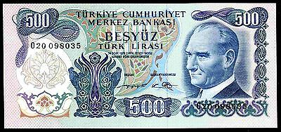 Turkey. 500 Lira, O20 098035, Law 1970, (C. Early 1980s), Almost Uncirculated.