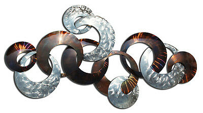 Abstract Metal Wall Art Circles Copper Silver Hanging Sculpture Home Decor 124cm