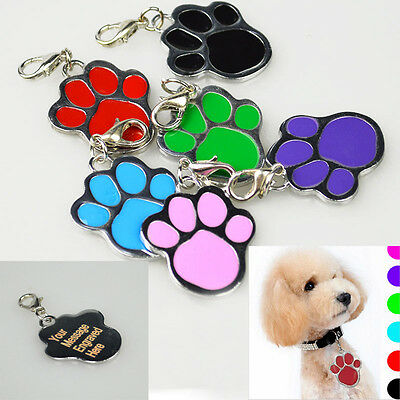 Personalised Engraved Pet Dog Cat ID Collar Name Tag Paw Print Identity 27mm DIY
