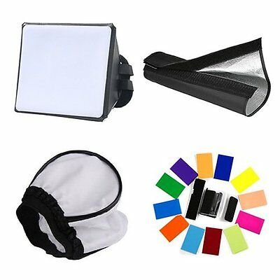 Universal Camera Flash Snoot + Mini Softbox + Color Filter + Soft Diffuser Set