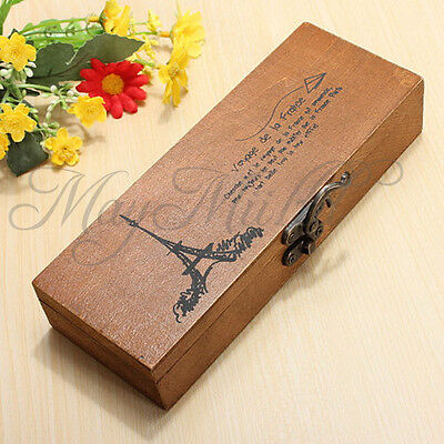 Retro Eiffel Tower Wood Wooden Pen Pencil Case Holder Stationery Box Storage Z タ