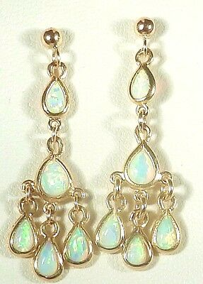 A Fine Pair Of 9Ct Yellow Gold Pear Cabochon Opal Dropper Chandelier  Earrings