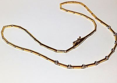 A FINE 18CT 18KT YELLOW  GOLD 0.08CT  DIAMOND COLLERETTE  NECKLACE 16.31g