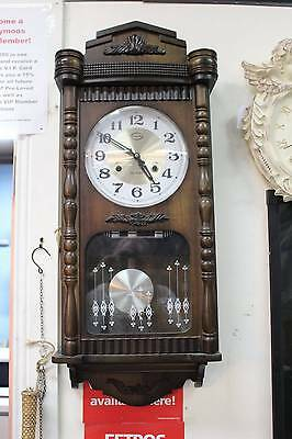 A Vintage Key Wind Up 31 Day Wall Clock - 3 Month Warranty
