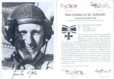 SPGL13 German Luftwaffe photo signed GUNTHER RALL KC fighter ace