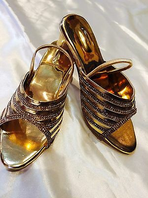 Size 11 Girls Kids Indian Bollywood Fancy  Shoes Heels Slip On Sandals Gold