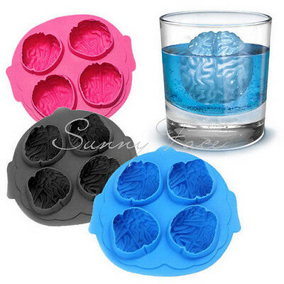 Scary 3D Silicone Ice Cube Maker Jelly Mold Brain Shape Drinking Hot Selling タ